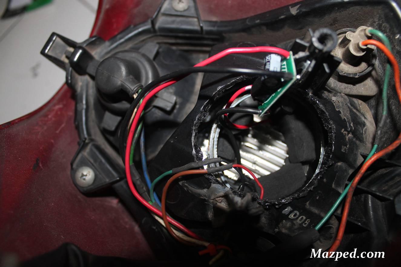 Pasang Projie Led Di Headlamp Satria Fu Old Dudukan Plat Nomor N Max Tak Perlu Bobok Reflektor