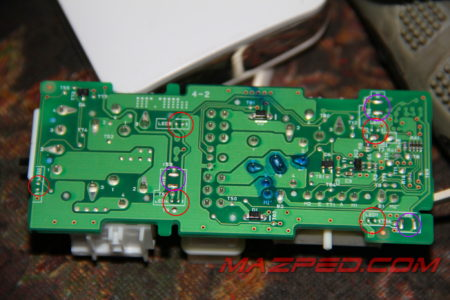posisi led dan resistor